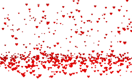 Lots of Tiny Red Hearts with a Defocus Effect with a white background