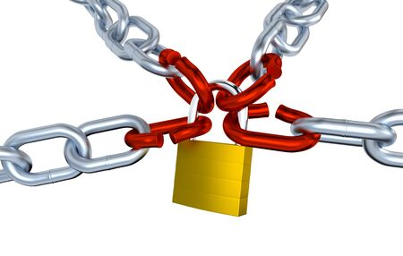 Four Metallic Chains with Four Stressed Link Locked with a Padlock with a white background