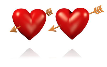 Two Big and Red Hearts with Golden Arrows with White BackGround Stock Photo