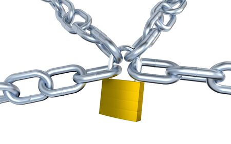 Four Metallic Chains Locked with a Padlock with a white background