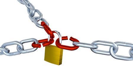 Three Metallic Chains with Three Stressed Link Locked with a Padlock with a white background