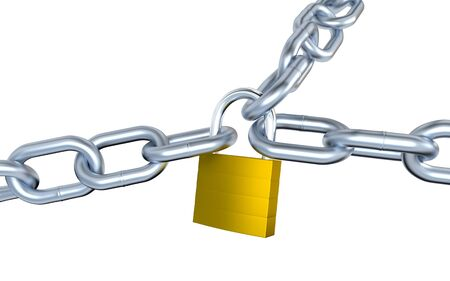 Three Big Metallic Chains Locked with a Padlock with a white background Stock Photo