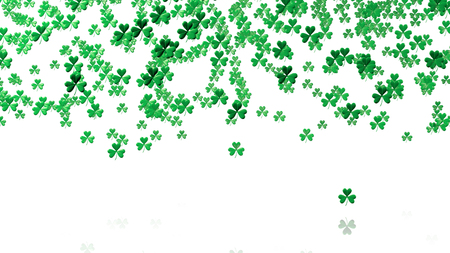 sweet seventeen: Lots of Tiny Green Clovers In Up with a White Background Stock Photo