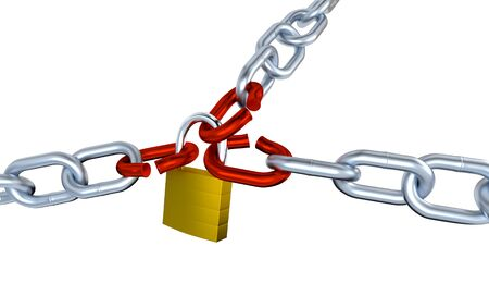 Three Big Metallic Chains with Three Stressed Link Locked with a Padlock with a white background