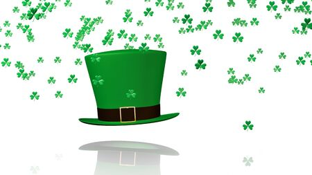 sweet seventeen: Some Tiny Green Clovers Raining on a Big Irish Hat with a White Background Stock Photo