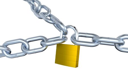 Three Metallic Chains Locked with a Padlock with a white background Stock Photo