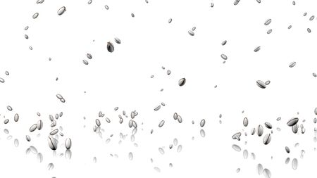 fullhd: Many Rugby balls raining with a reflecting floor and a white background
