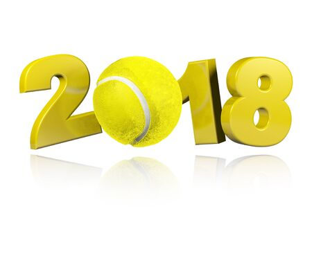 Tennis 2018 Design with a white Background Banco de Imagens - 83444728
