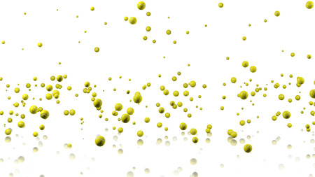 fullhd: Many Tennis balls raining with a reflecting floor and a white background