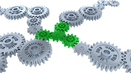 Perspective View of Several Silver Gears and Four Green with a white background