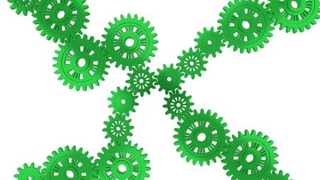 Up View of Several Green Gears with a white background