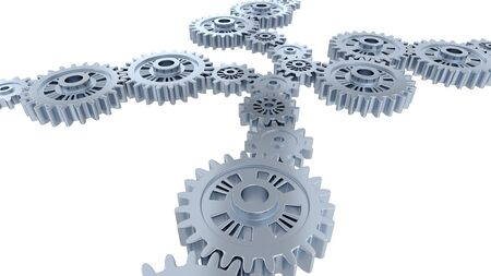 Side and Perspective View of Many Silver Gears with a white background