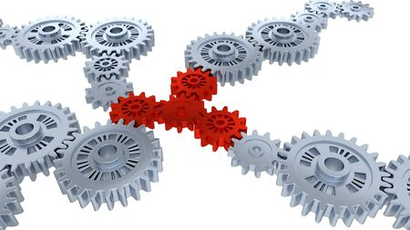 Perspective View of Several Silver Gears and Four Red with a white background