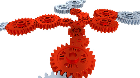 Side and Perspective View of Seven Silver Gears and Several Red Gears with a white background