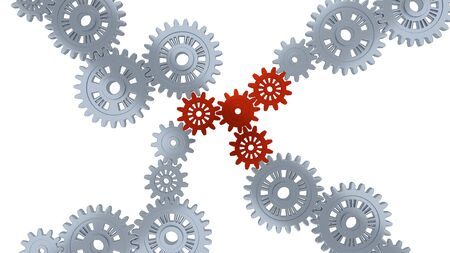 Up View of Several Silver Gears and Four Red with a white background