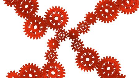 Up View of Several Red Gears with a white background Stock Photo