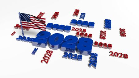 USA Flag in the Wind with 2028 Designs and a white background