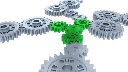 Side and Perspective View of Several Silver Gears and Four Green with a white background
