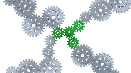 Up View of Several Silver Gears and Four Green with a white background