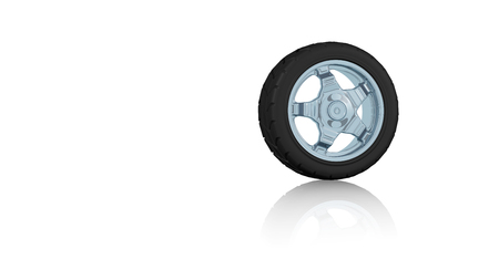 One Sport Wheel on a white reflecting floor