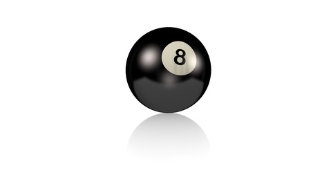 Billiard Ball on a reflecting white floor with a white background
