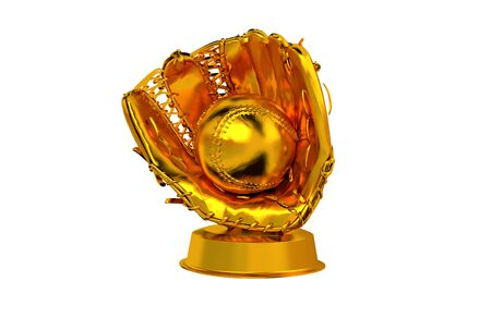 Baseball Golden Trophy with a white background