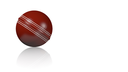Cricket Ball on a white reflecting floor with a white background Stock Photo