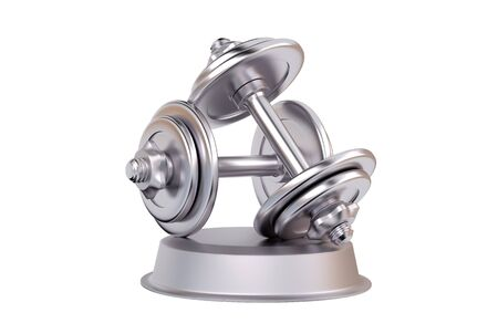 Dumbbell Silver Trophy with a white background