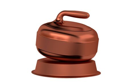 Curling Stone Bronze Trophy with a white background