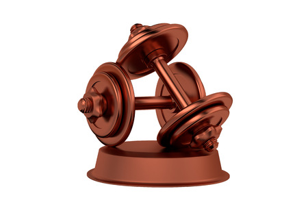 Dumbbell Bronze Trophy with a white background