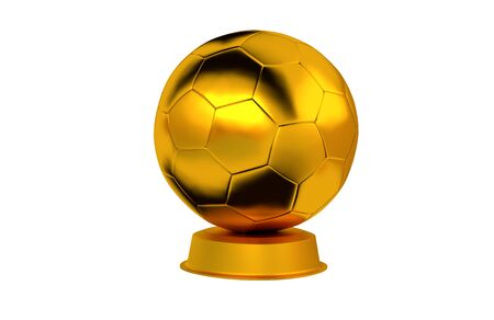 Football ball Golden Trophy with a white background