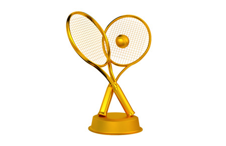 Tennis Rackets and ball Golden Trophy with a white background Stock Photo