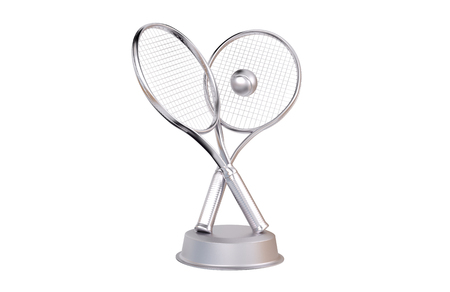 Tennis Silver Trophy with a white background