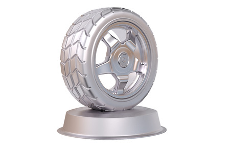 Sport Wheel Silver Trophy with a white background