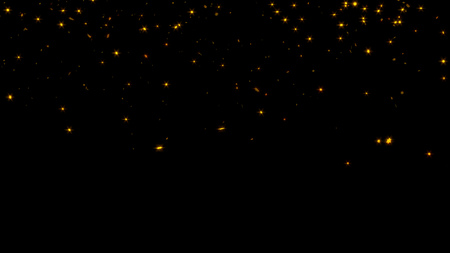 Raining of Sharp and Tiny Golden Six Branchs Stars with a Black Background