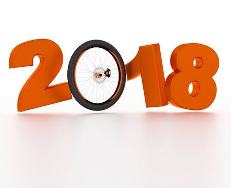 Bicycle Wheel 2018 design with a White Background Stock Photo