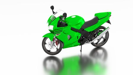 White reflecting floor with a Left Side of a Green Sport Motorbike without any brand