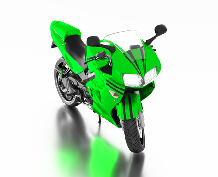 White reflecting floor with a Front View of a Green Sport Motorbike without any brand