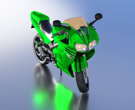 Blue Sky reflecting floor with a Front View of a Green Sport Motorbike without any brand