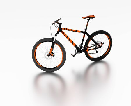 White reflecting floor with a Left Side of an Orange and Black Mountain Bike without any brand