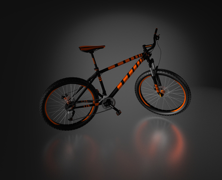 Black reflecting floor with a Right Side of an Orange and Black Mountain Bike without any brand