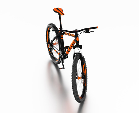 White reflecting floor with a Front View of an Orange and Black Mountain Bike without any brand
