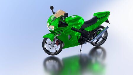 Blue Sky reflecting floor with a Left Side of a Green Sport Motorbike without any brand Stock Photo