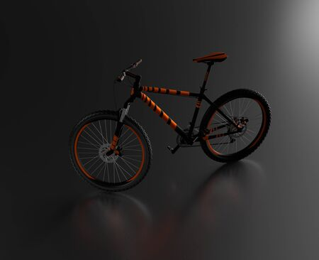 Black reflecting floor with a Left Side of an Orange and Black Mountain Bike without any brand