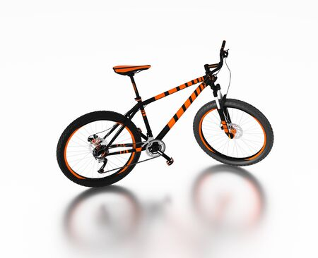 White reflecting floor with a Right Side of an Orange and Black Mountain Bike without any brand Stock Photo