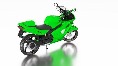 White reflecting floor with a Right Side of a Green Sport Motorbike without any brand