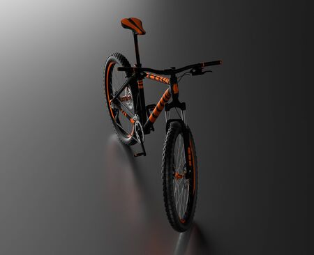 Black reflecting floor with a Front View of an Orange and Black Mountain Bike without any brand