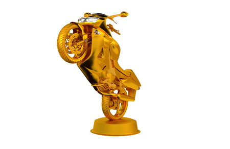 Sport Motorbike Golden Trophy with a White Background