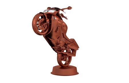 Sport Motorbike Bronze Trophy with a White Background Stock Photo