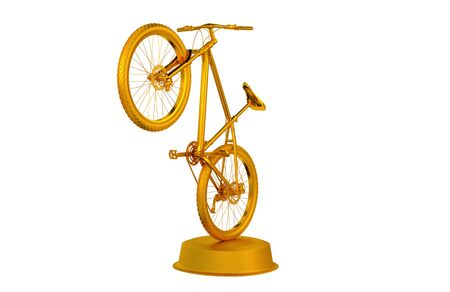 Mountain Bike Golden trophy with a White Background Stock Photo